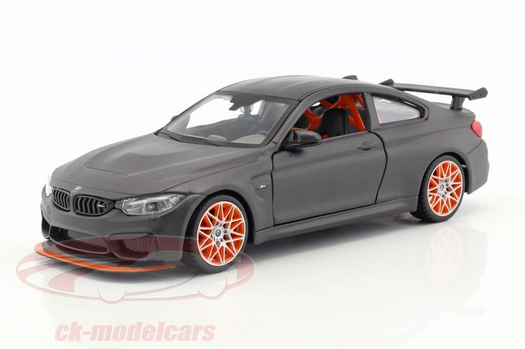 Maisto 1 24 Bmw M4 Gts Mat Black With Orange Rims 31246 Model Car