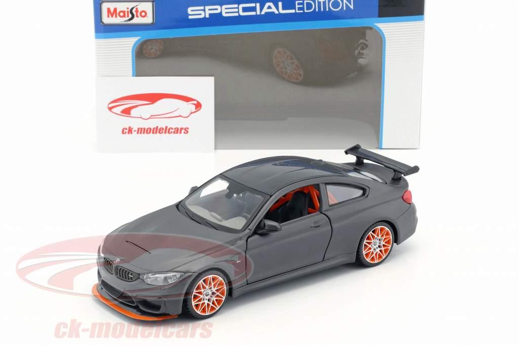 BMW M4 GTS natte noir avec orange jantes 1:24 Maisto