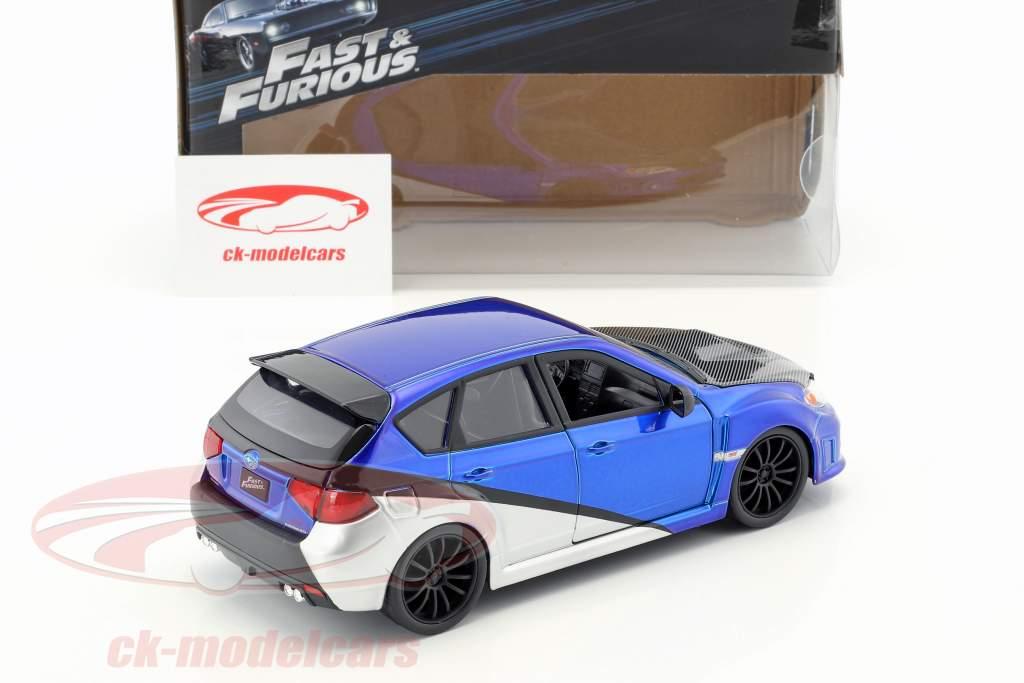 Brian's Subaru Impreza WRX STi film Fast & Furious (2009) bleu / argent / noir 1:24 Jada Toys