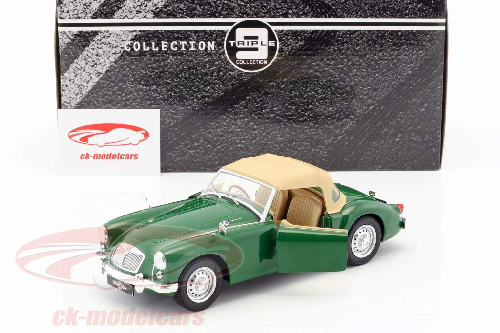 MGA MKI Twin Cam Closed Softtop Baujahr 1959 grün / beige 1:18 Triple9