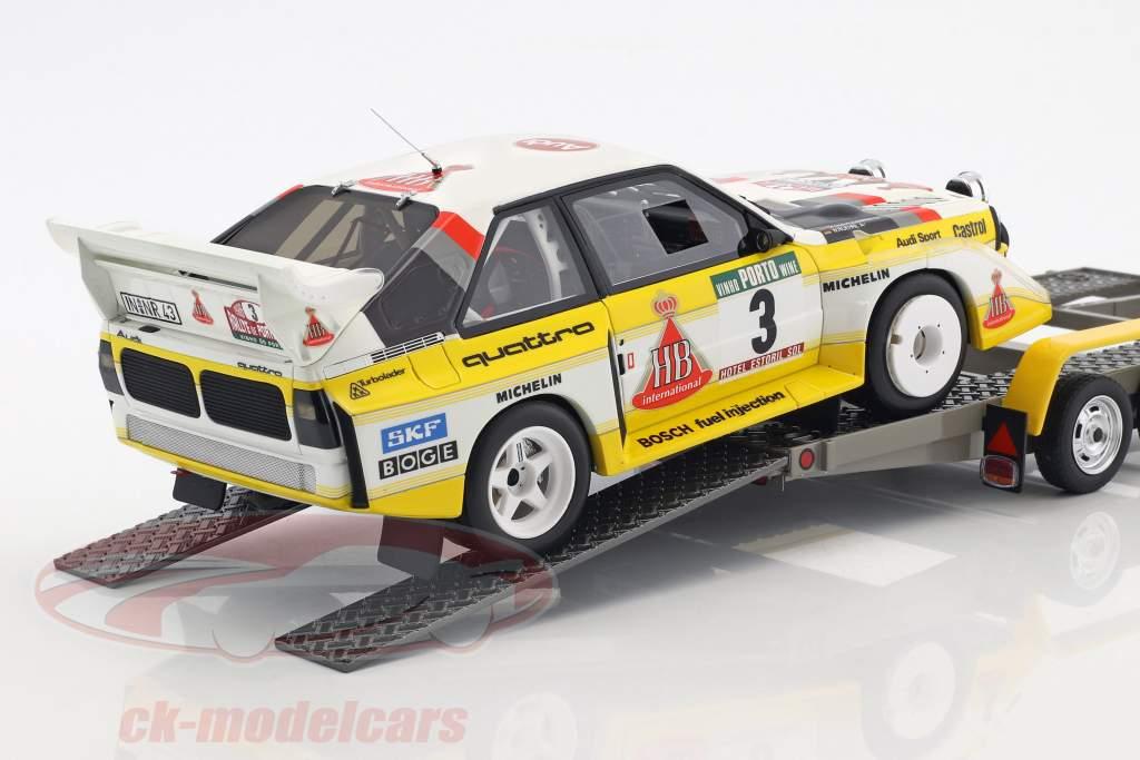 3-Car Set Rallye Portugal 1986: VW LT45   Audi Quattro S1 Gr. B #3   Trailer 1:18 Otto Mobile