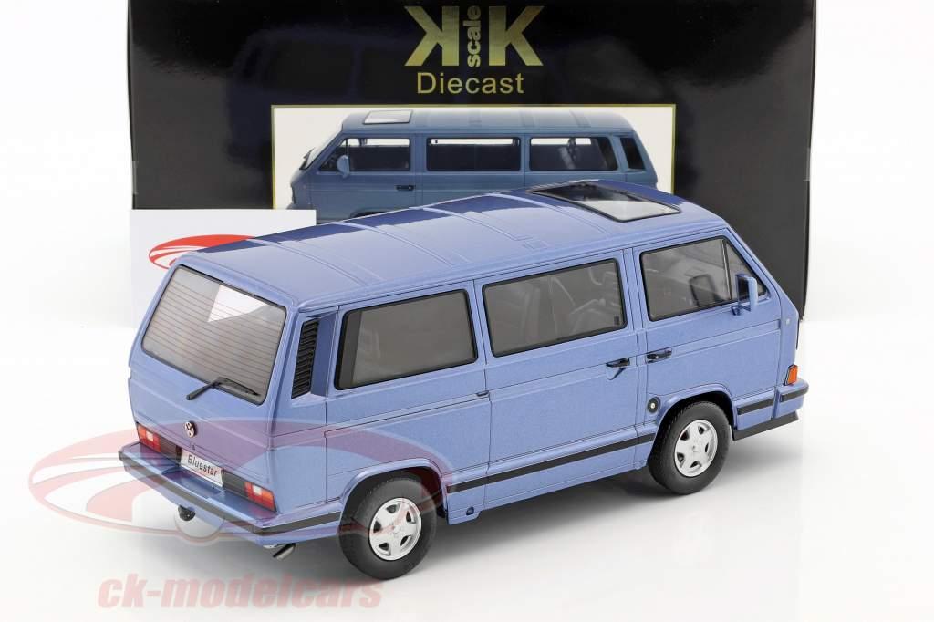 Volkswagen VW autobus T3 Blue Star anno di costruzione 1993 azzurro metallico 1:18 KK-Scale
