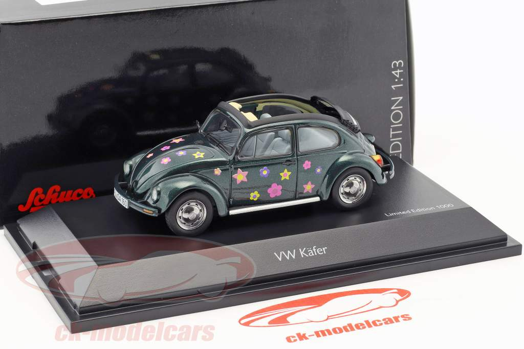 Volkswagen VW coléoptère Open Air fleur décor vert métallique 1:43 Schuco