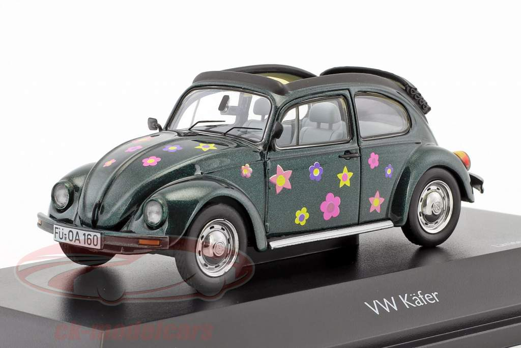 Volkswagen VW scarafaggio Open Air fiore Decor verde metallico 1:43 Schuco
