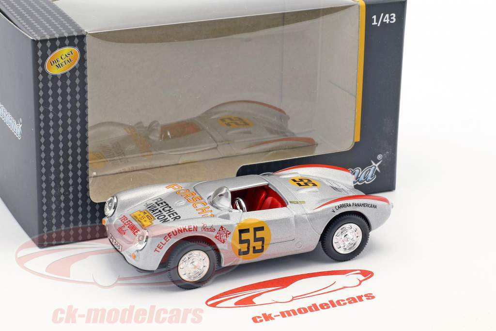 Porsche 550A Spyder #55 3e Carrera Panamericana 1954 Hans Herrmann 1:43 Cararama