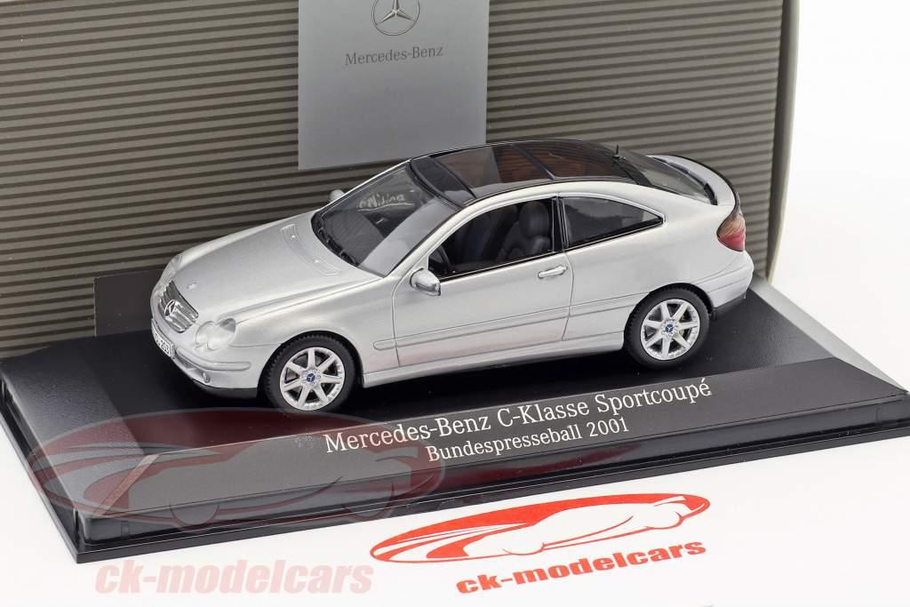 Mercedes-Benz C-Klasse Sport Coupe Bundespresseball 2001 silver 1:43 Minichamps