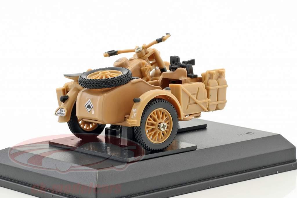 BMW B-R75 Bouwjaar 1941 Afrika corps Erwin Rommel beige 1:43 Cararama