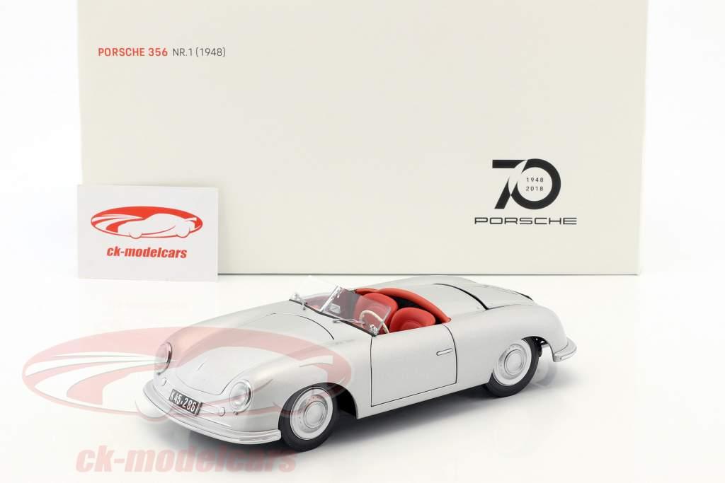 Porsche 356 Nr.1 Bouwjaar 1948 editie 70 jaar Porsche zilver 1:18 AUTOart
