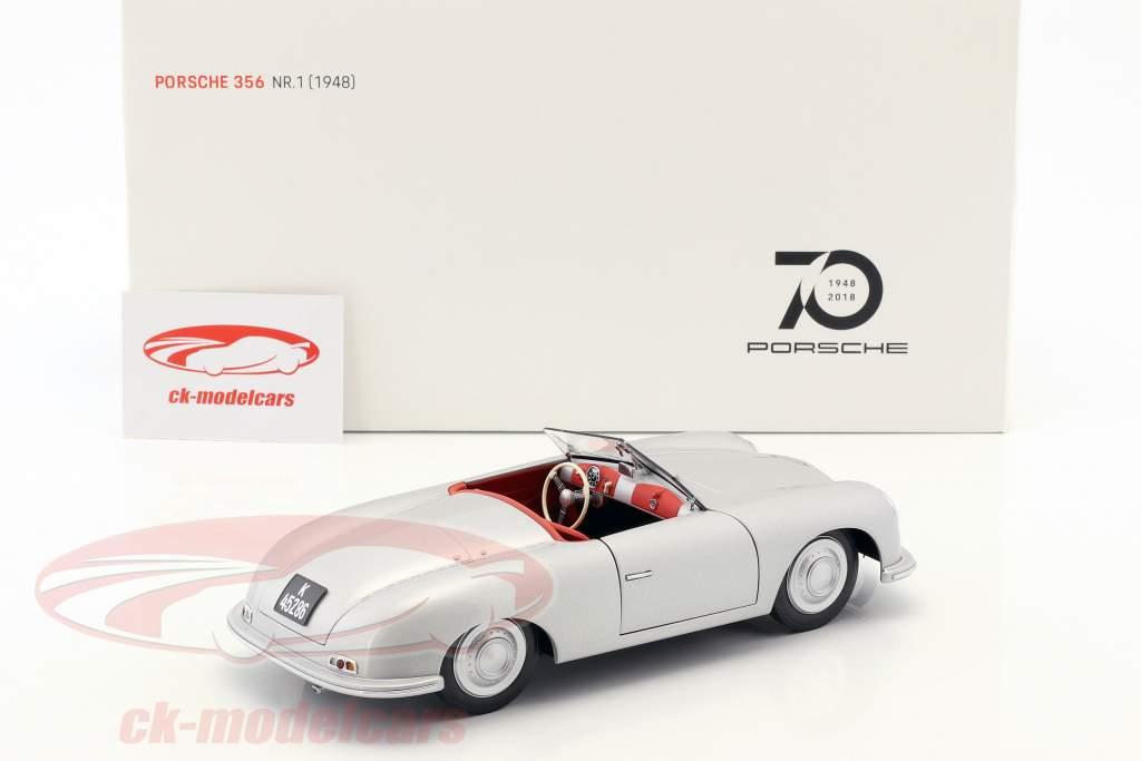 Porsche 356 Nr.1 ano de construção 1948 edição 70 anos Porsche prata 1:18 AUTOart