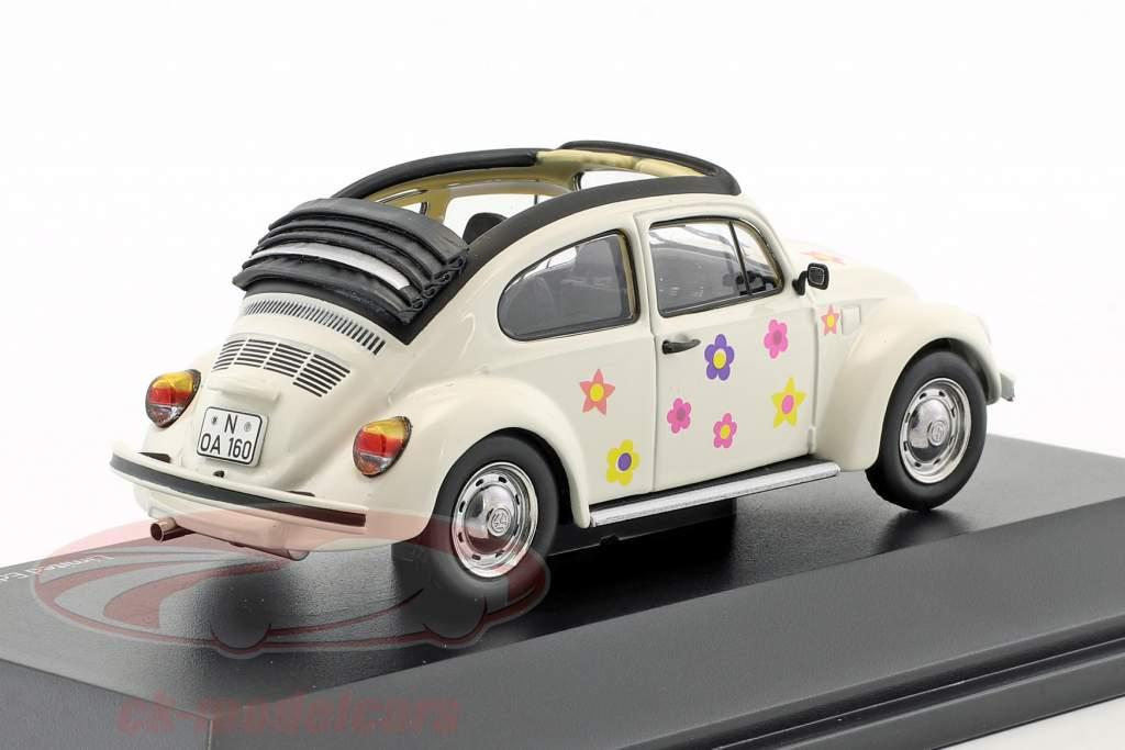 Volkswagen VW coléoptère Open Air fleur décor blanc 1:43 Schuco