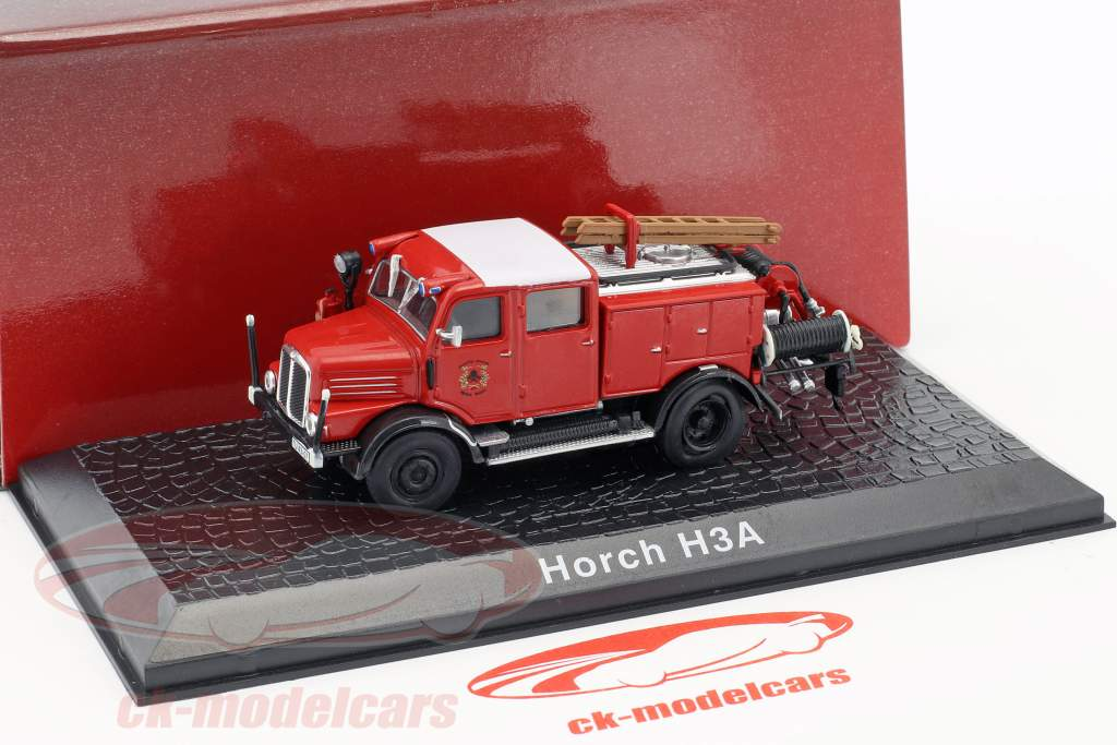 Horch H3A Feuerwehr TLF 15 Baujahr 1952 rot 1:72 Atlas
