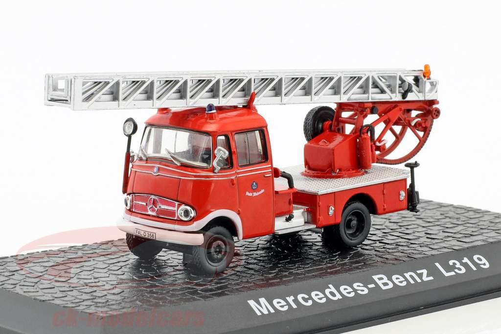 Mercedes-Benz L319 Feuerwehr mit Drehleiter Baujahr 1961 rot 1:72 Atlas