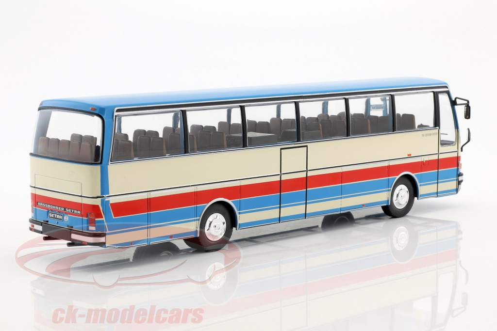 Setra S215 HD bus year 1976 blue / beige / red 1:43 Ixo