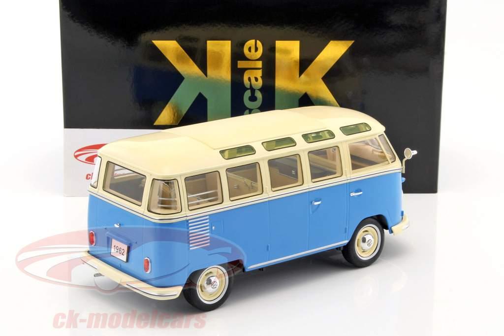 Volkswagen VW Bulli T1 Samba jaar 1962 blauw / crème 1:18 KK-Scale