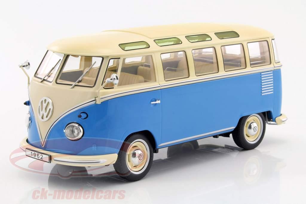 Volkswagen VW Bulli T1 Samba anno 1962 blu / crema 1:18 KK-Scale
