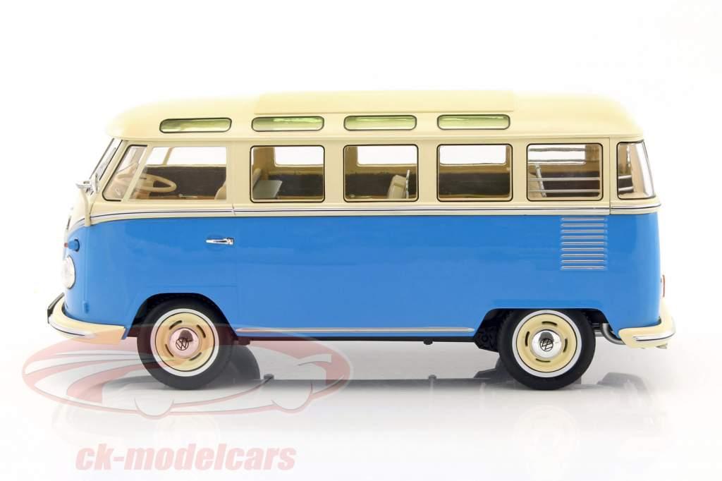 Volkswagen VW Bulli T1 Samba ano 1962 azul / creme 1:18 KK-Scale