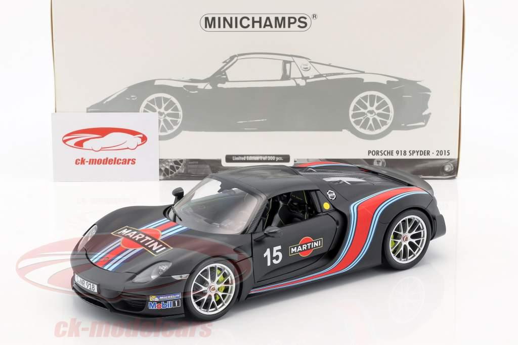 Porsche 918 Spyder Weissach Package year 2015 mat black with Martini Stripes 1:18 Minichamps