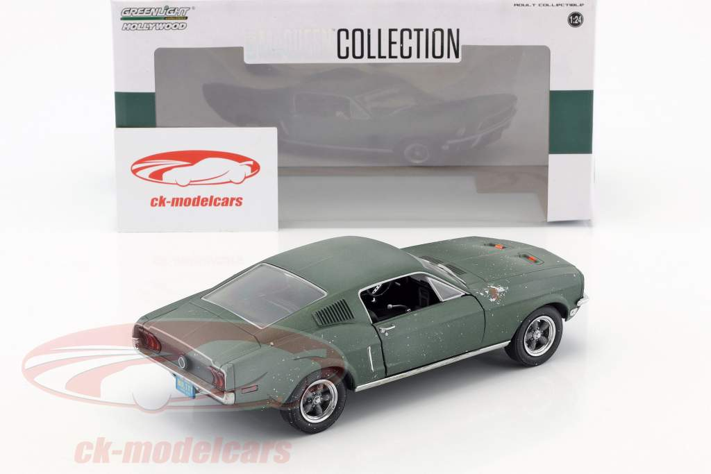 Ford Mustang GT Fastback unrestored Steve McQueen film Bullitt (1968) vert 1:24 Greenlight