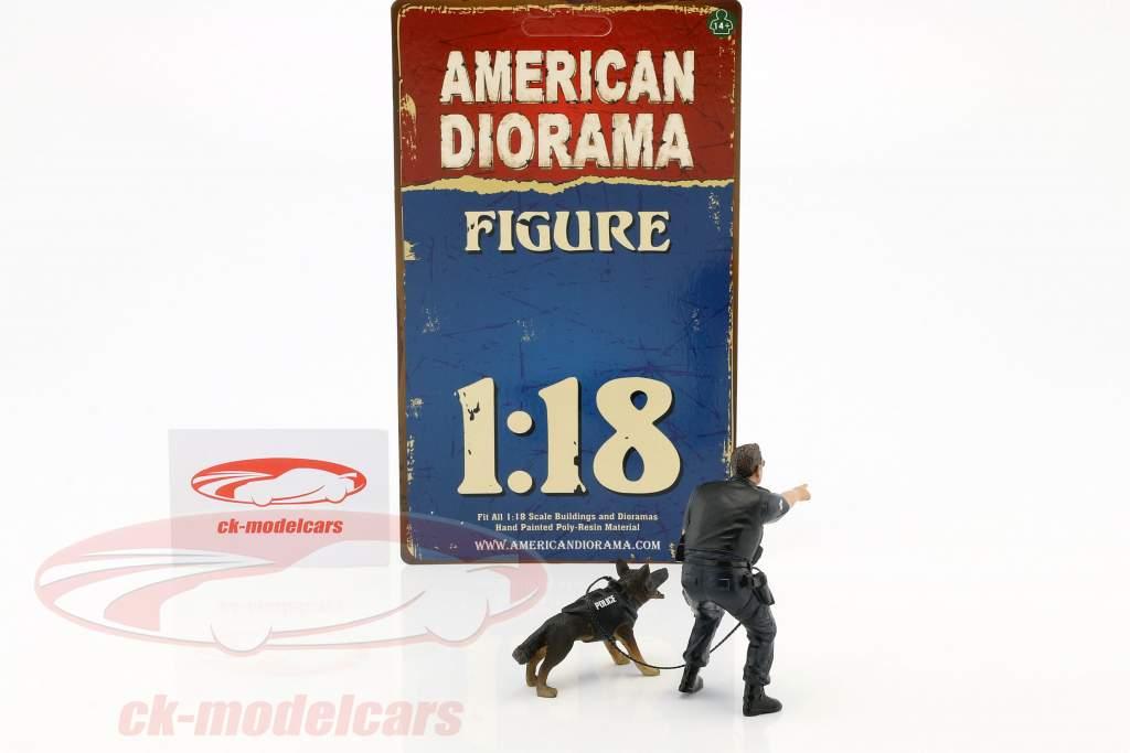 Police K9 unidad Set II: Police Officer y K9 perro 1:18 American Diorama