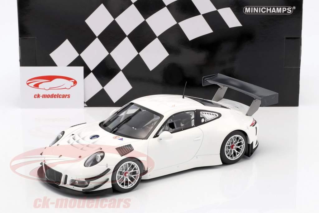 Porsche 911 (991) GT3 R Versión de cuerpo liso blanco 2016 1:18 Minichamps