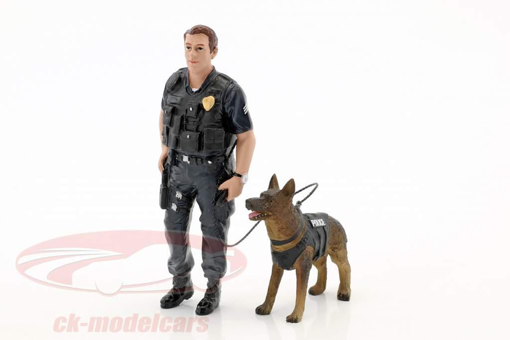 Police K9 enhed Set I: Police Officer og K9 Hund 1:18 American Diorama