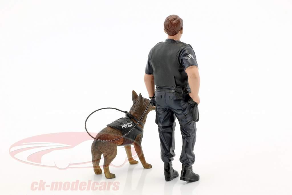 Police K9 unité Set I: Police Officer et K9 chien 1:18 American Diorama