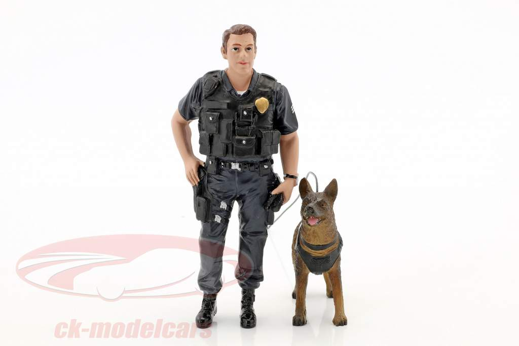 Police K9 Unit Set I: Police Officer and K9 Dog 1:18 American Diorama