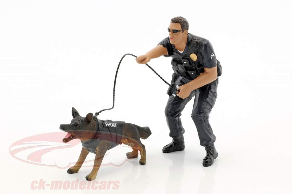 Police K9 unidade Set II: Police Officer e K9 cão 1:18 American Diorama
