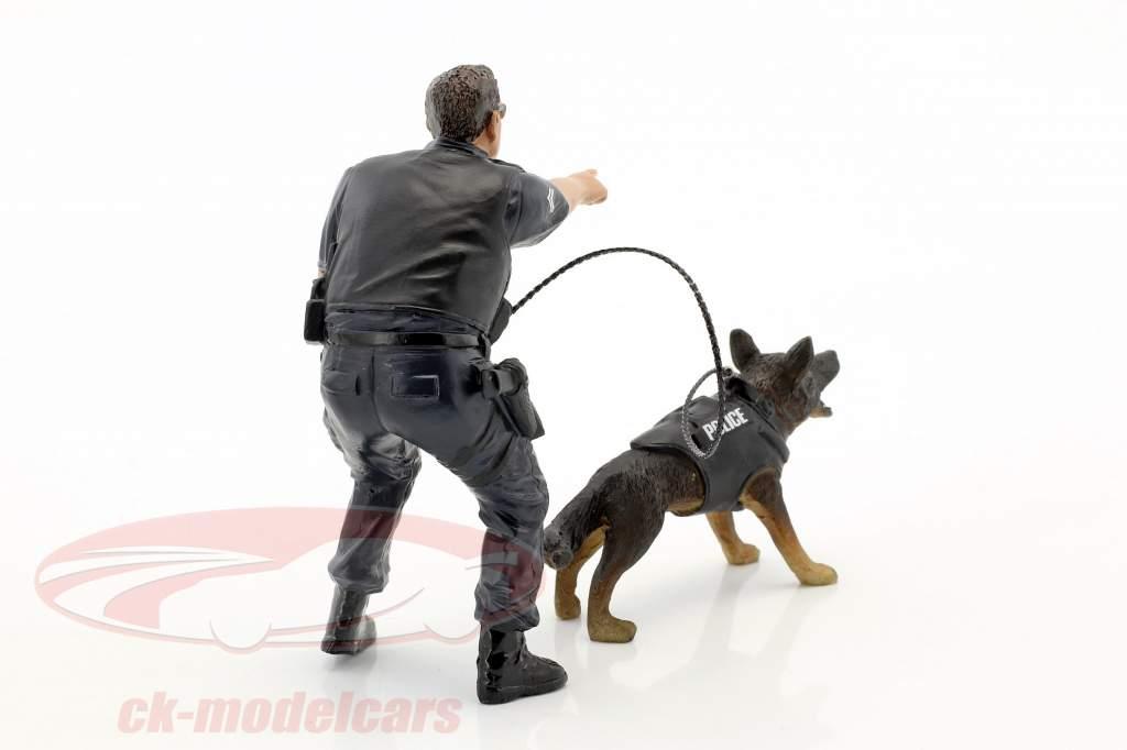 Police K9 enhed Set II: Police Officer og K9 Hund 1:18 American Diorama