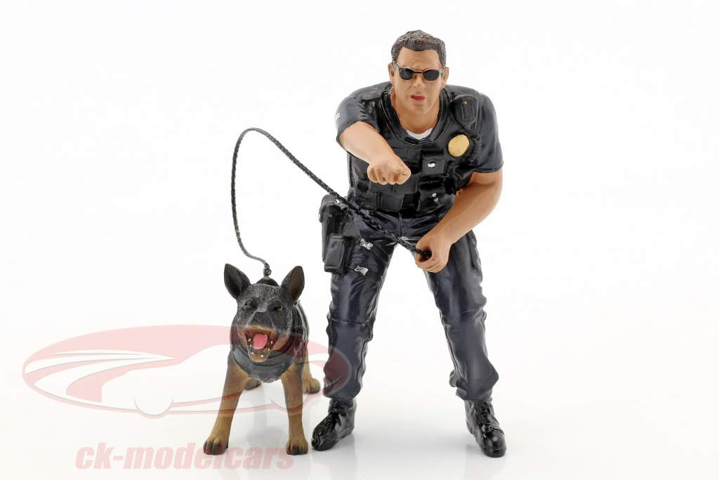 Police K9 Unit Set II: Police Officer and K9 Dog 1:18 American Diorama