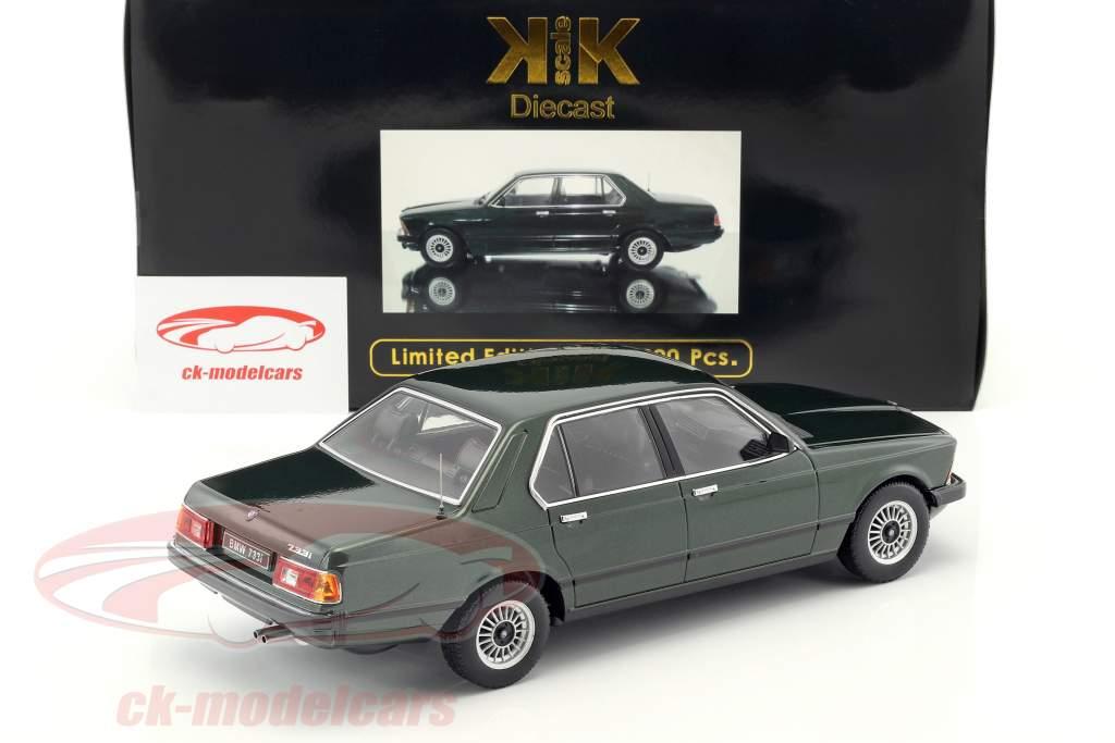 BMW 733i E23 år 1977 mørkegrøn metallic 1:18 KK-Scale