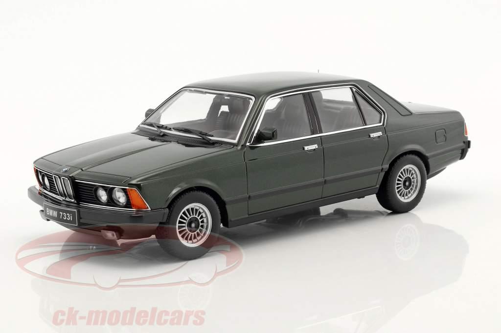 BMW 733i E23 jaar 1977 donkergroen metalen 1:18 KK-Scale