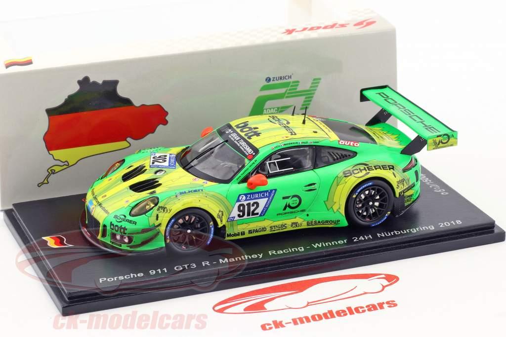 Porsche 911 GT3 R #912 vincitore 24h Nürburgring 2018 Lietz, Pilet, Makowiecki, Tandy 1:43 Spark