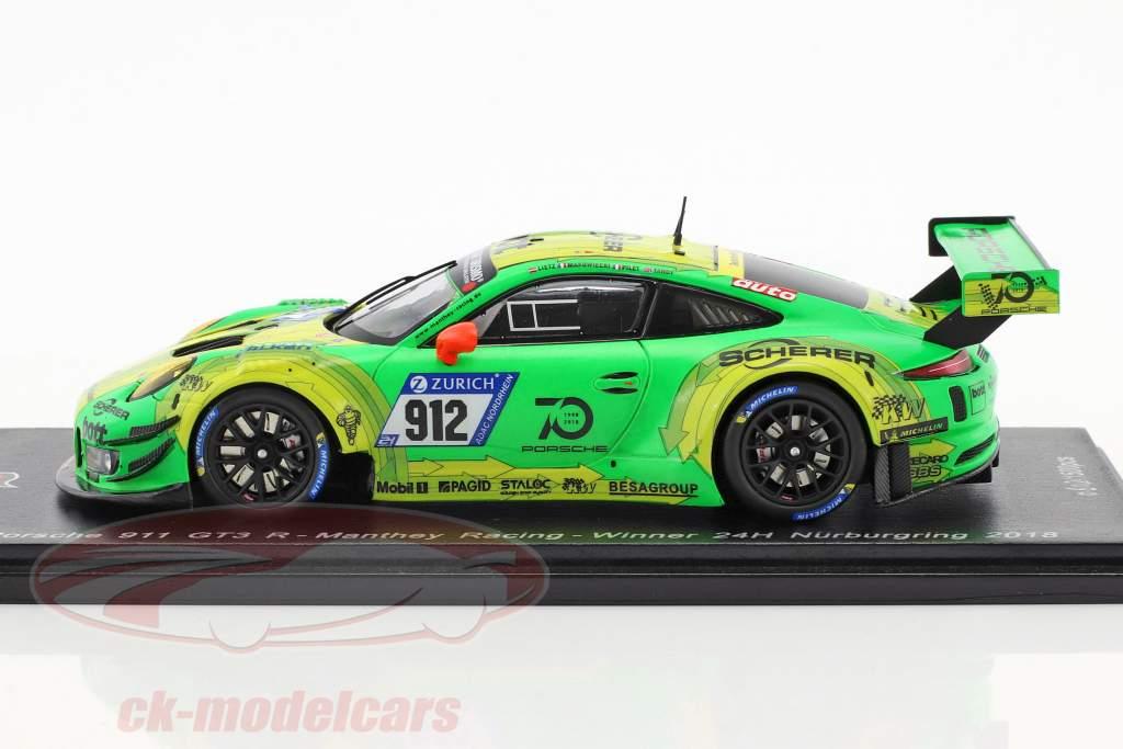 Porsche 911 GT3 R #912 gagnant 24h Nürburgring 2018 Lietz, Pilet, Makowiecki, Tandy 1:43 Spark