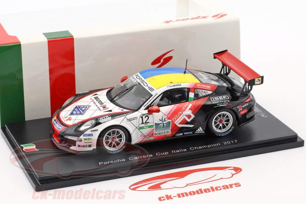 Porsche 911 GT3 Cup #12 campione Porsche Carrera Cup Italia 2017 Alessio Rovera 1:43 Spark
