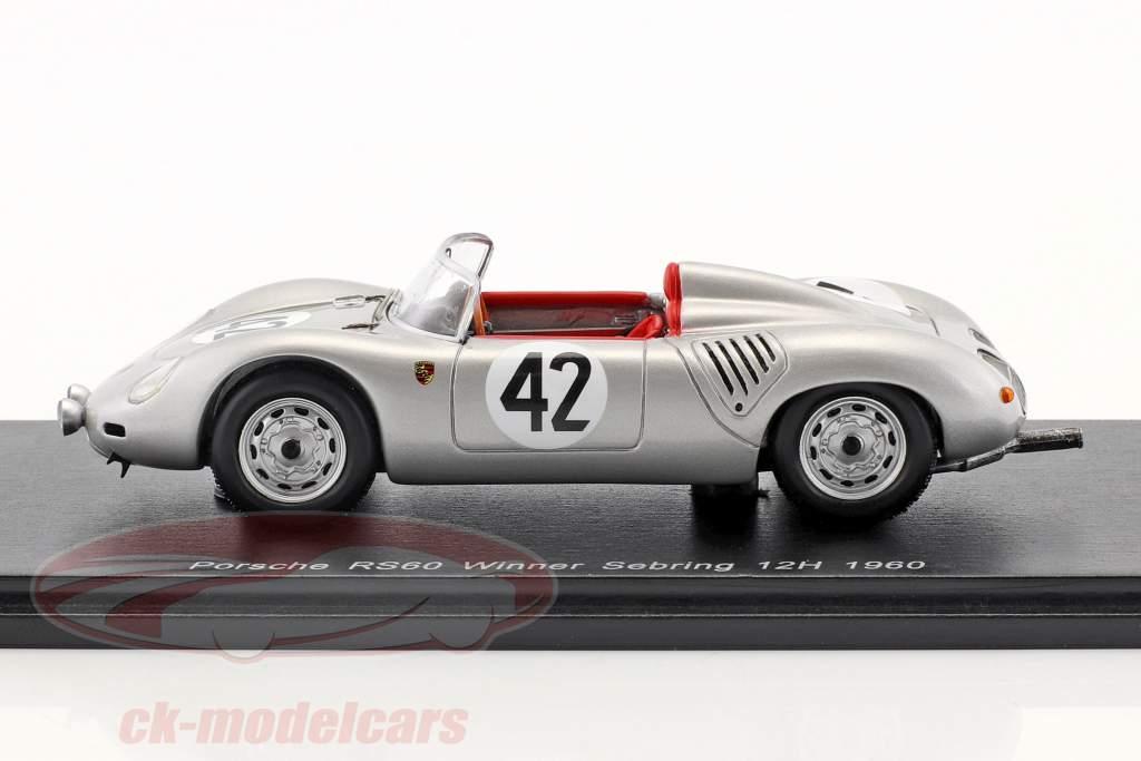 Porsche 718 RS60 #42 gagnant 12h Sebring 1960 Herrmann, Gendebien 1:43 Spark