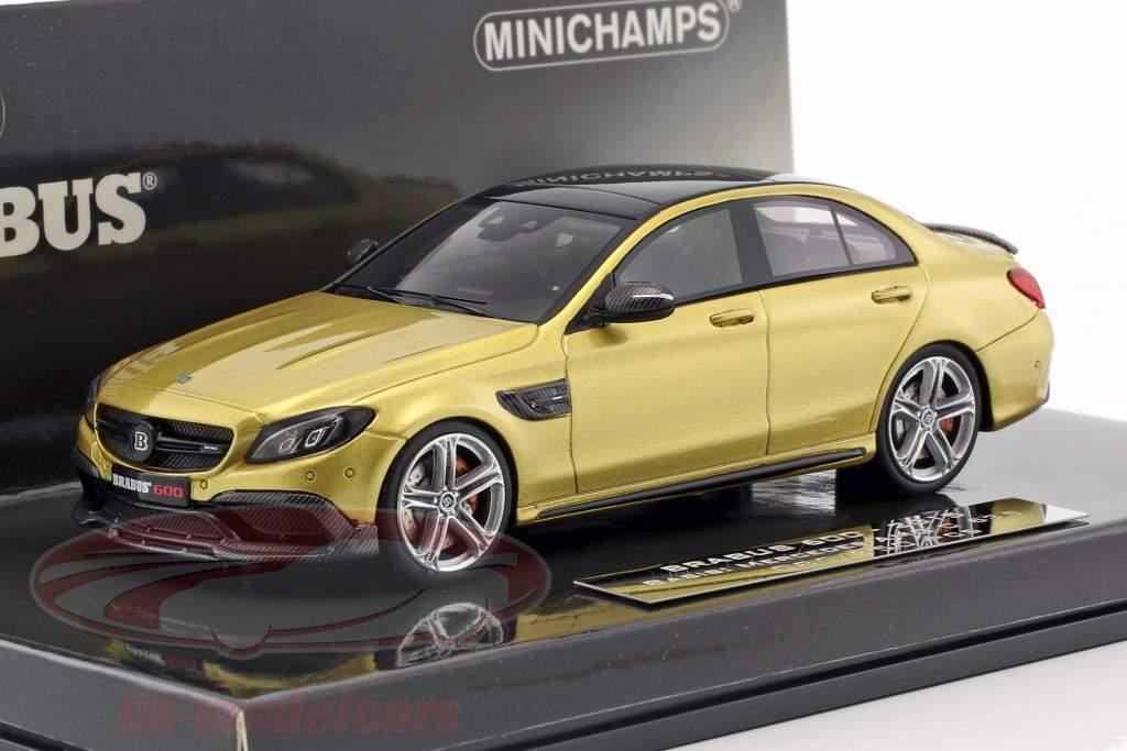 Brabus 600 gebaseerde op Mercedes-Benz AMG C 63 S Bouwjaar 2015 goud metalen 1:43 Minichamps
