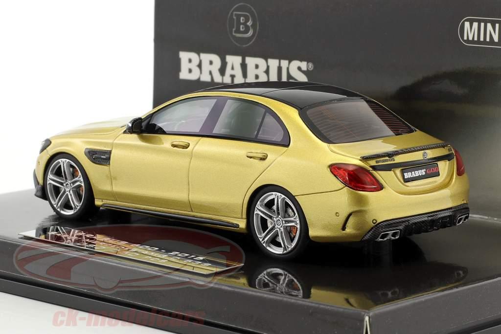 Brabus 600 baseado em Mercedes-Benz AMG C 63 S ano de construção 2015 ouro metálico 1:43 Minichamps