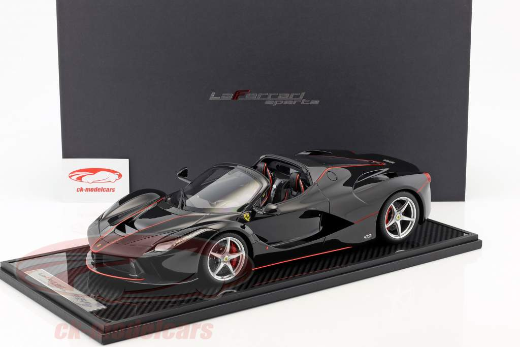 Ferrari LaFerrari Aperta Spider Baujahr 2016 daytona schwarz / corsa rot mit Vitrine 1:12 BBR