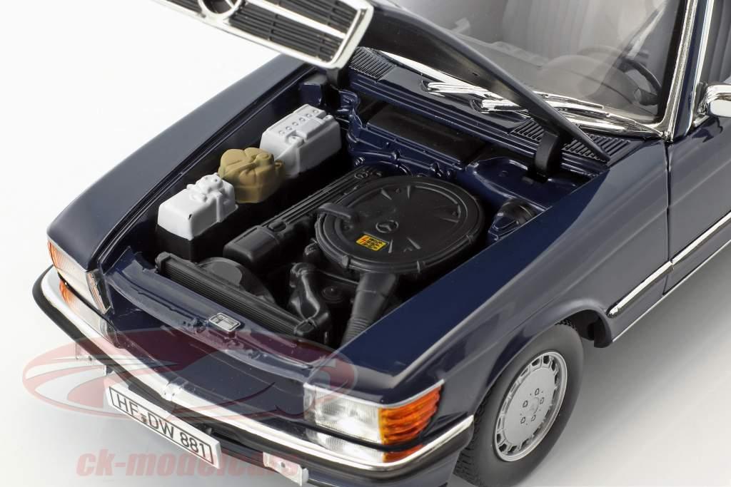 Mercedes-Benz 300 SL (R107) cabriolet avec softtop année de construction 1986 bleu foncé 1:18 Norev