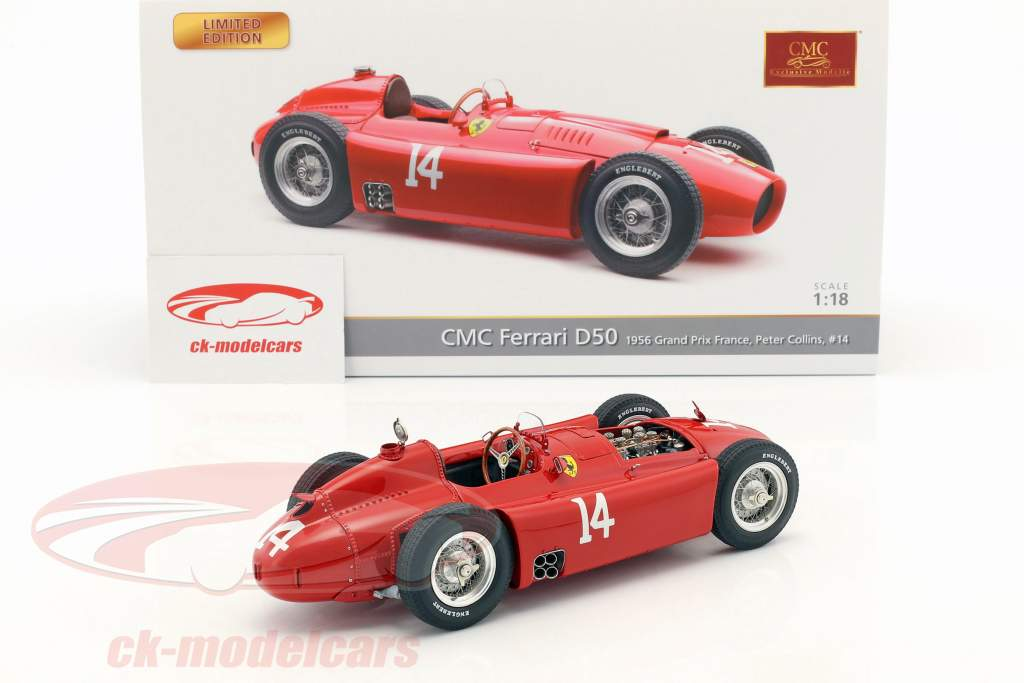 Peter Collins Ferrari D50 #14 winnaar Frans GP formule 1 1956 1:18 CMC