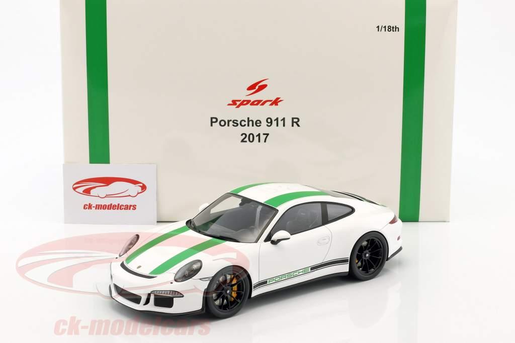 Porsche 911 R anno di costruzione 2017 bianco / verde 1:18 Spark