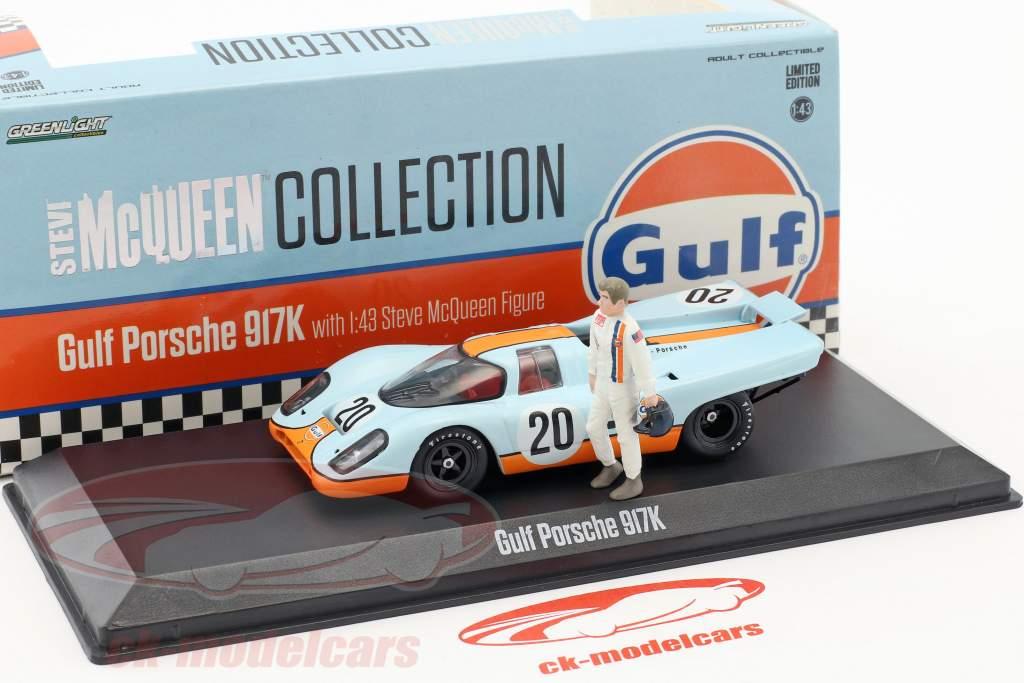 Gulf Porsche 917K #20 avec Steve McQueen figure gulf bleu / orange 1:43 Greenlight