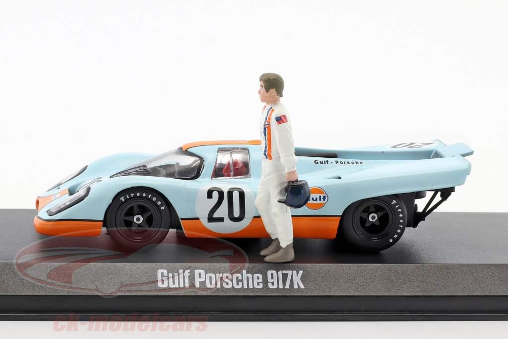 Gulf Porsche 917K #20 mit Steve McQueen Figur gulf blau / orange 1:43 Greenlight
