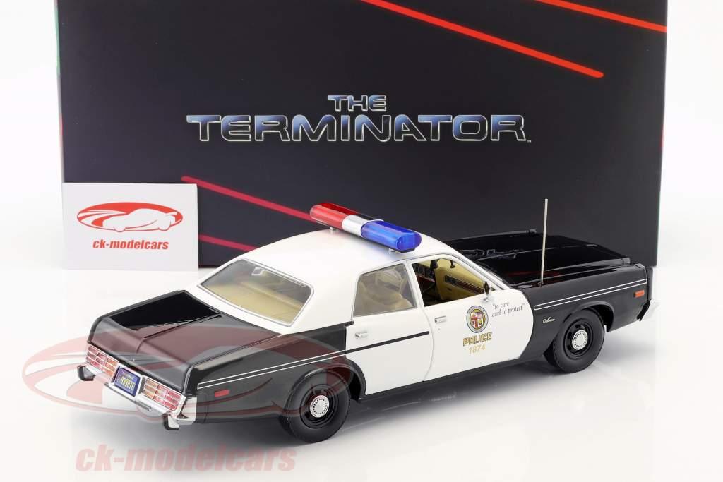 Dodge Monaco Metropolitan Police ano de construção 1977 filme Terminator (1984) com T-800 figura 1:18 Greenlight