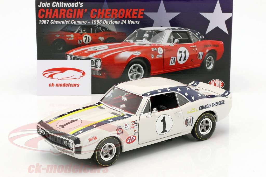 Chevrolet Camaro #1 Opførselsår 1967 Joie Chitwood Chargin Cherokee hvid 1:18 GMP