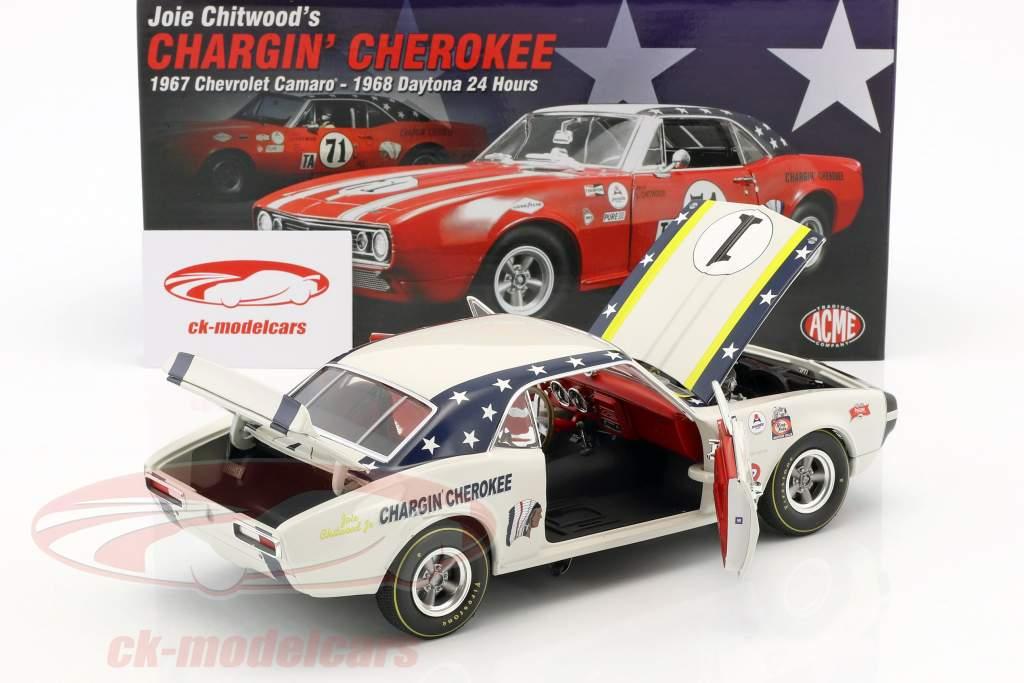 Chevrolet Camaro #1 año de construcción 1967 Joie Chitwood Chargin Cherokee blanco 1:18 GMP