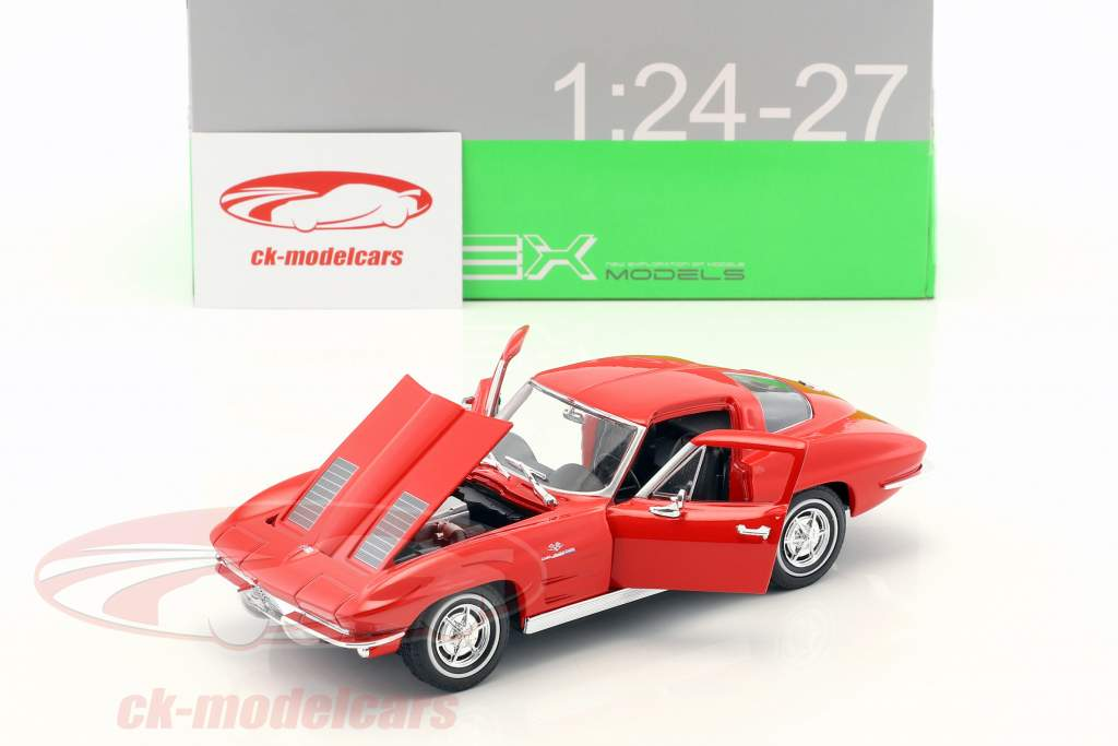 Chevrolet Corvette anno di costruzione 1963 rosso 1:24 Welly