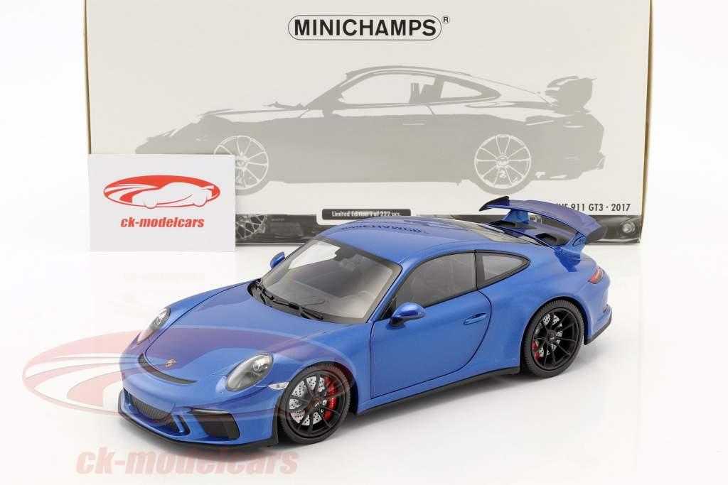 Porsche 911 (991 II) GT3 année de construction 2017 bleu métallique 1:18 Minichamps