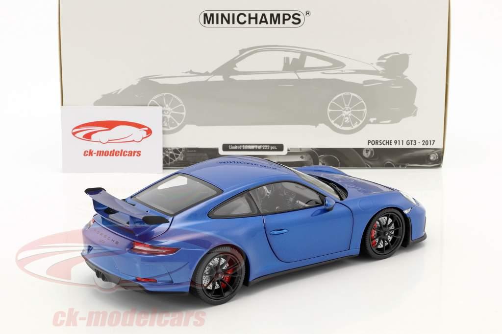 Porsche 911 (991 II) GT3 year 2017 blue metallic 1:18 Minichamps